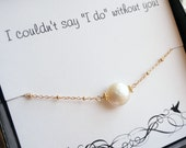 Bridesmaid gift set of TWO pearl necklaces with thank you cards, bridesmaid invites, bridesmaid cards, be my bridesmaid