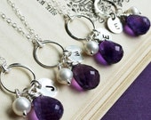 Silver eternity necklaces, Personallized bridesmaid gifts, bridal jewelry set, SET OF FIVE, Initial necklaces, purple amethyst, otis b