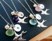 Bridal jewelry gift Set of 6:Silver Initial necklaces, personalized bridesmaid Gifts, Bridesmaid necklaces, bird charm necklaces, Bridal