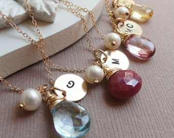 Wedding jewelry set of Four: personalized necklaces for bridesmaids, bridesmaid gifts, customized gold initial necklaces,wrap stones