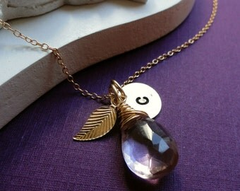 Bridesmaid Gifts, Personalized Necklaces with tiny leaf & initial charm, Bridal Jewelry Gift sets, amethyst, gold necklaces, Otis B