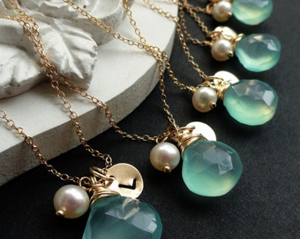 Bridesmaid Gifts, Set of 7: SEVEN  Personalized Gold Necklaces, Aqua, Teal, Sea green, Custom Stone & Letter charm necklaces
