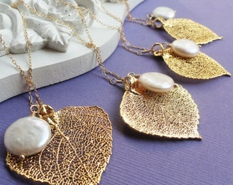 Bridal jewelry Gift set, THREE Gold leaf & pearl necklaces, real aspen leaf lariats, Bridesmaid gifts, Gold filled chain, autumn wedding