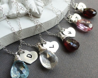 Bridesmaid gifts set of 9: NINE personalized birthstone necklaces, Sterling silver, heart charm necklaces, bridesmaid jewelry