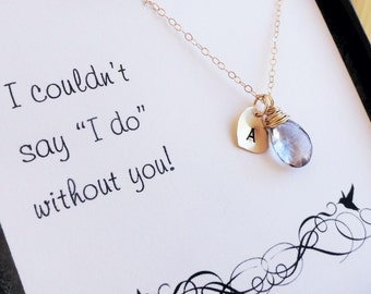 Personalized Bridesmaid gifts set of  FOUR: gold initial and birthstone necklaces, Be my bridesmaid card, Bridesmaid Thank you, otis b
