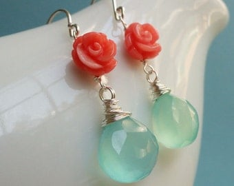 BRIDESMAID JEWELRY, THREE pair aqua and coral earrings, Bridesmaid gifts, teal, aqua earrings, sterling silver, sterling silver