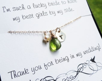 Bridesmaid Gift Set of SEVEN Bridesmaid thank you cards and necklace, personalized birthstone necklaces for bridesmaids necklaces