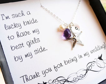 SET OF TEN Personalized starfish necklaces and Bridesmaid thank you cards, birthstones & initial necklaces, beach wedding theme jewelry