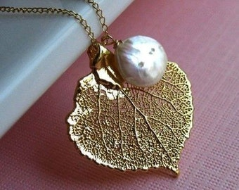 Bridesmaid gifts TWO PIECE SET gold aspen leaf and pearl necklaces, real leaf necklaces for bridesmaids, leaf jewelry for fall weddings