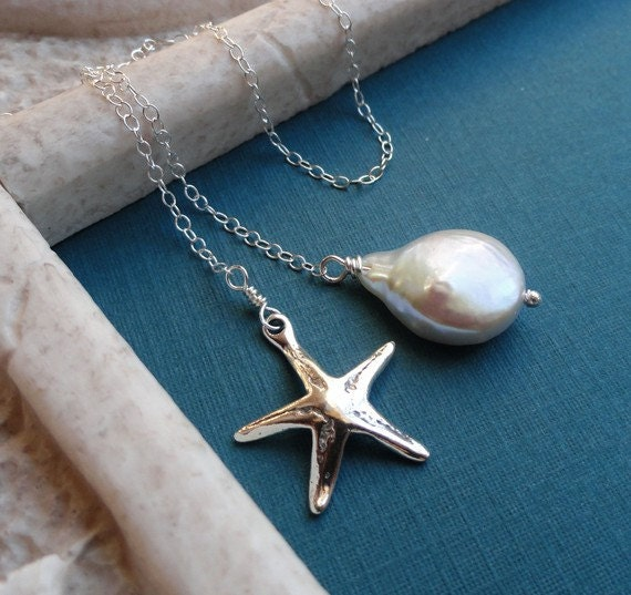 Destination wedding, Bridesmaid gifts, Jewelry set of FOUR starfish necklaces, Pearl Lariat necklaces, Sterling silver, beach wedding
