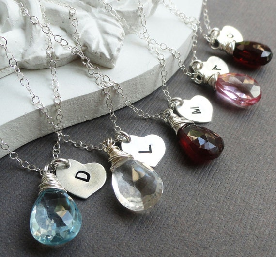 Personalized Bridesmaid Necklaces, FIVE Birthstone Necklaces, bridesmaid gifts, Sterling silver, heart charm necklaces, bridal party gifts