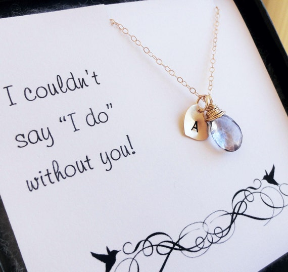Bridal jewelry gift Set of 6: SIX Bridesmaid cards with necklace, Bridesmaid gifts, Be my bridesmaid card,  initial & gemstone necklaces