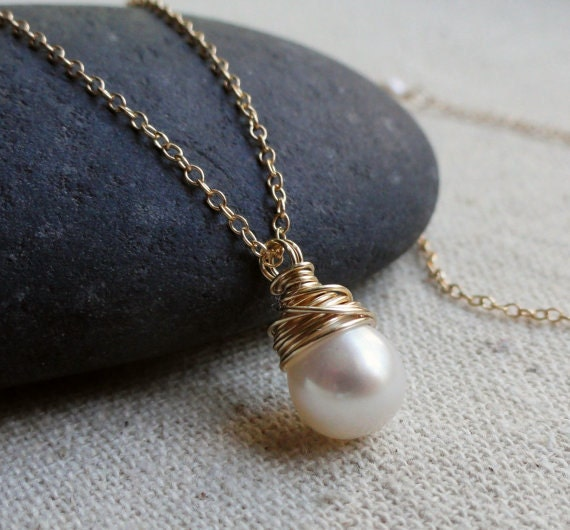 Freshwater pearl necklaces for Bridesmaid gifts, THREE white pearl solitaires, gold fill, wire wrapped, bridesmaid jewelry, boxed gift sets