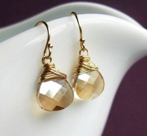 Bridesmaid gifts set of SEVEN crystal earrings, custom color, Swarovski crystal earrings, wire wrapped, gold fill or sterling silver