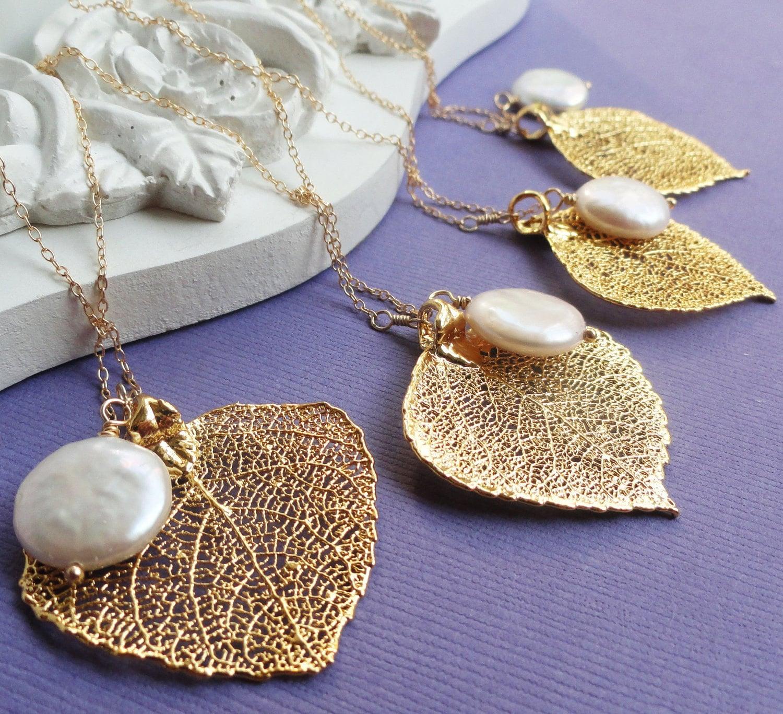 Bridal jewelry Gift set of SIX Gold leaf & pearl by OtisBWeddings