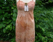 Tangerine Vintage Tie Dye Slip Dress with Lace and Vintage Pin accent