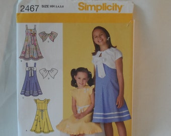 Simplicity Girl's Dress Pattern -New 2467 ,size HH 3,4,5,6