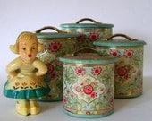 Set of Four Vintage Tin Containers