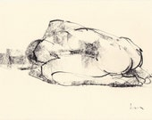 Eva II Figure study Original drawing  9 x 7 inches