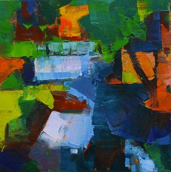 "Peace like a river"" Original oil  on canvas 6"" x 6"""