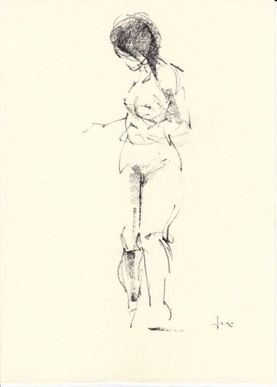 April 04 Original figure study  7 x 9 inches drawing