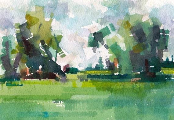 "Field 02 original watercolor 7"" x 5"""