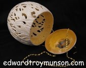 Ostrich Egg Purse carved sculpted in Fire and Flames designs.