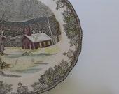 SALE 10% off Vintage Johnson Bros English Snow Scenery Plate ON SALE 10 percent off original price