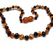 Baltic Amber Teething Necklace - Dark Cherry with Light Honey Mix - Made in Canada