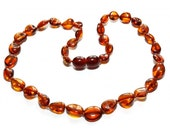 Baltic Amber Teething Necklace - Rich Honey Olive Beads - Made in Canada