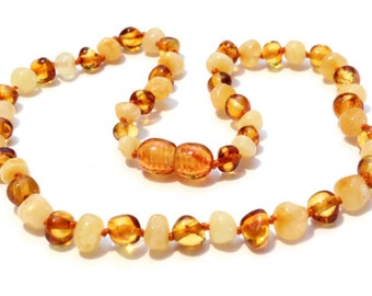 Baltic Amber Teething Necklace - Milky Lemon and Honey Mix - Made in Canada