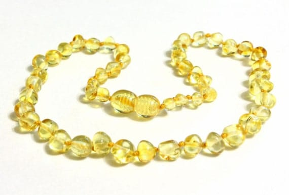 Baltic Amber Teething Necklace - Lemon color - Made in Canada