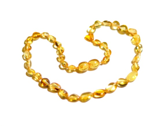 Baltic Amber Teething Necklace - Golden Lemon Olive Beads - Made in Canada