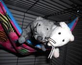 RESERVED FOR MADDY - Medium flat rat hammock in Zebra Hearts