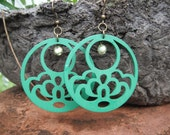 Green Cloud Round Wooden Earrings with Green Beads