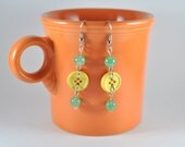 Green and Yellow Button Earrings OOAK