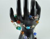 Multicolored Round Beadwork Metalwork Necklace OOAK