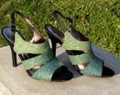 Green Glitter Ombre Spike Heel Sandals Size 8