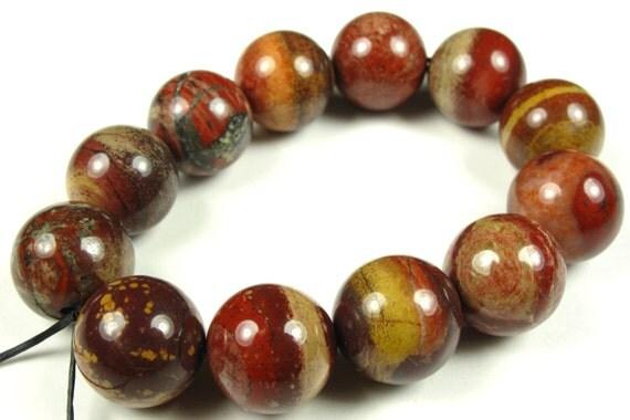 Autumn Jasper Round Bead - 12mm - 12 Pieces - A1255