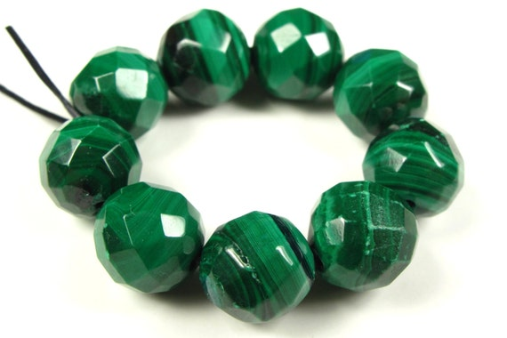 BARGAIN - Natural Malachite Faceted Round Bead - 9mm - 9 Pieces - A2230