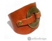 Geometric Circles Cuff Genuine Leather Bracelet