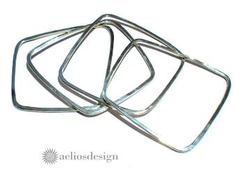 Square Silver Bangle Asymmetrical Bracelet