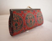 SALE! was 15 dollars - Japanese vintage silk red coin purse - Nishijin-brocade Kyoto