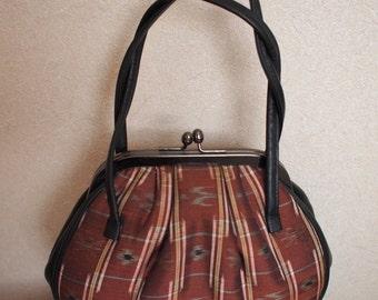 SALE! was 35 dollars - Japanese vintage brown handbag- Nishijin-brocade Kyoto
