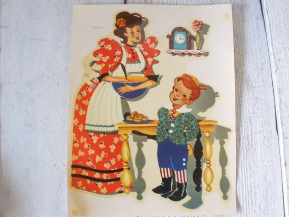 Vintage artist decal mother and son