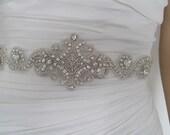 "Crystal bridal sash belt rhinestone black white ,gold ivory Crystal  wedding sash"" BELLA"