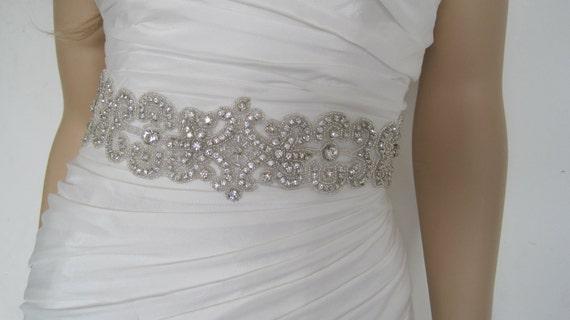 Items Similar To Wedding Dress Sash Belt Rhinestone Black