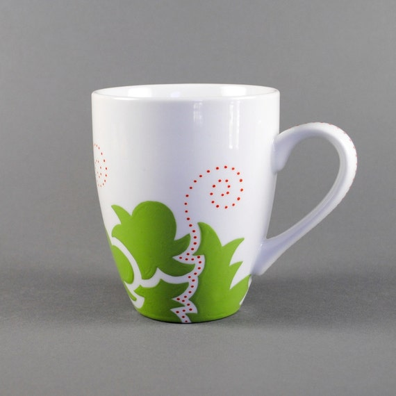 handpainted coffee mug - lime green