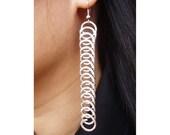 Wire Earrings -  Rings in row