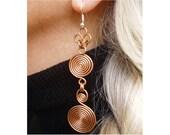Earrings - Copper wire - Double Etruscan swirls